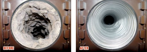dryer vent cleaning before and after